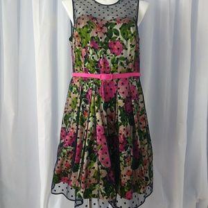 Eliza J Floral Print Party Dress with Flocked Dot